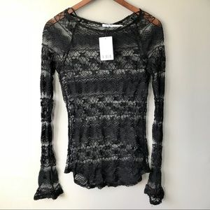 Kimchi Blue Women's Long Sleeve Lacey Top in Black